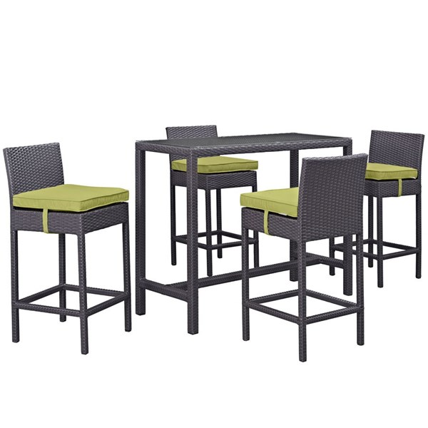 Modway Furniture Convene Espresso Peridot 5pc Outdoor Pub Set EEI-1964-EXP-PER-SET