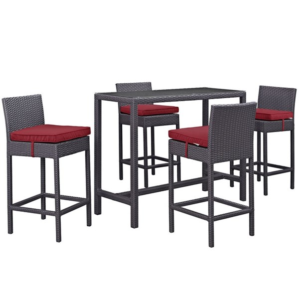 Modway Furniture Convene Espresso Red 5pc Outdoor Pub Set EEI-1964-EXP-RED-SET