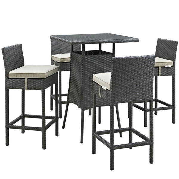 Sojourn Beige Synthetic Rattan Glass 5pc Outdoor Bar Set EEI-1967-CHC-BEI-SET