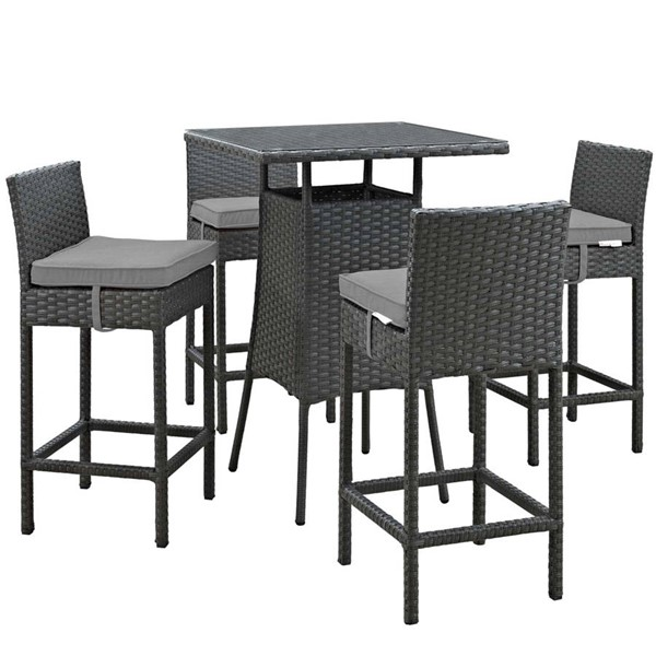 Modway Furniture Sojourn Gray Square 5pc Outdoor Sunbrella Pub Set EEI-1967-CHC-GRY-SET