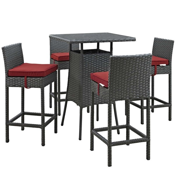 Modway Furniture Sojourn Red Square 5pc Outdoor Sunbrella Pub Set EEI-1967-CHC-RED-SET