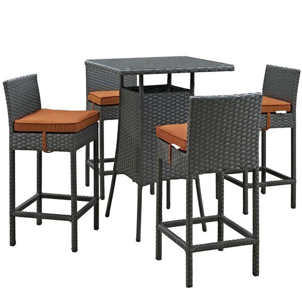 Sojourn Tuscan Fabric Synthetic Rattan 5pc Outdoor Bar Set EEI-1967-CHC-TUS-SET