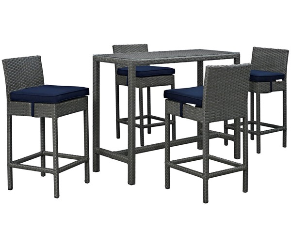 Modway Furniture Sojourn Navy 5pc Outdoor Sunbrella Pub Set EEI-1968-CHC-NAV-SET