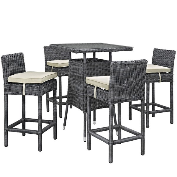 Summon Beige Synthetic Rattan Fabric 5pc Outdoor Bar Set EEI-1971-GRY-BEI-SET