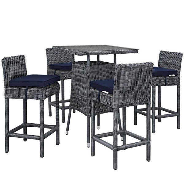 Summon Navy Fabric Synthetic Rattan 5pc Outdoor Bar Set EEI-1971-GRY-NAV-SET