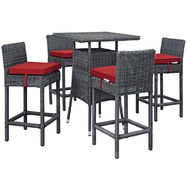 Modway Furniture Summon Red Square 5pc Outdoor Sunbrella Pub Set EEI-1971-GRY-RED-SET