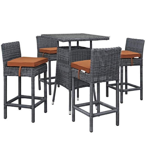 Summon Tuscan Synthetic Rattan Glass 5pc Outdoor Bar Set EEI-1971-GRY-TUS-SET