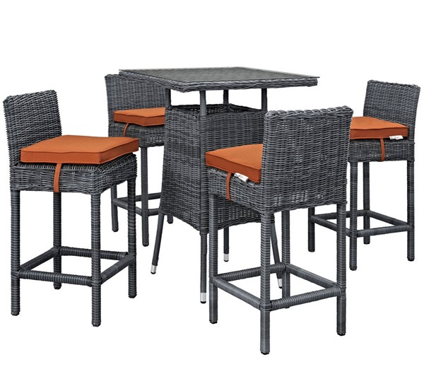 Modway Furniture Summon Tuscan Square 5pc Outdoor Sunbrella Pub Set EEI-1971-GRY-TUS-SET