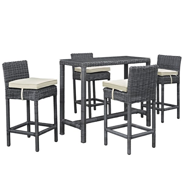 Modway Furniture Summon Beige 5pc Outdoor Sunbrella Pub Sets EEI-1972-OD-DS-VAR