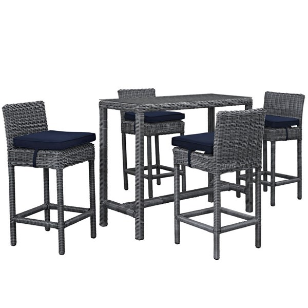 Summon Navy Synthetic Rattan 5pc Outdoor Bar Set EEI-1972-GRY-NAV-SET
