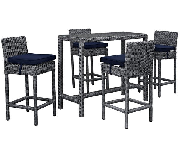 Modway Furniture Summon Navy 5pc Outdoor Sunbrella Pub Set EEI-1972-GRY-NAV-SET