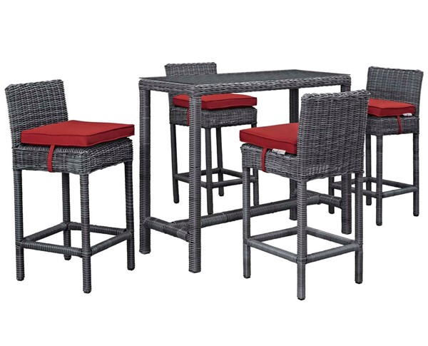 Modway Furniture Summon Red 5pc Outdoor Sunbrella Pub Set EEI-1972-GRY-RED-SET