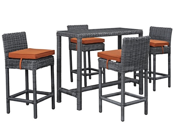 Modway Furniture Summon Tuscan 5pc Outdoor Sunbrella Pub Set EEI-1972-GRY-TUS-SET