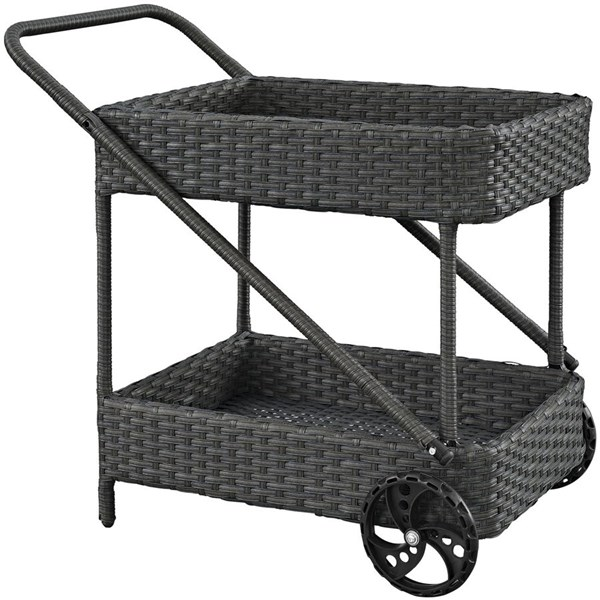 Sojourn Chocolate Synthetic Rattan Outdoor Patio Beverage Cart EEI-1979-CHC