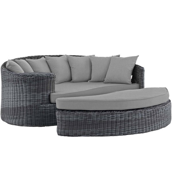 Modway Furniture Summon Gray Outdoor Sunbrella Daybed EEI-1993-GRY-GRY