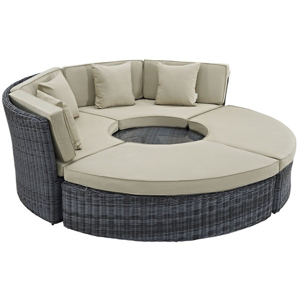 Summon Antique Beige Fabric PE Rattan Circular Outdoor Patio Daybeds EEI-1995-PO-CL-VAR
