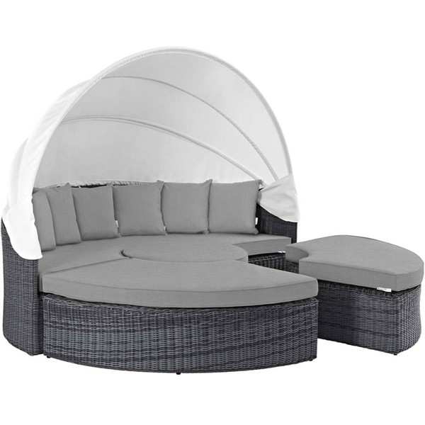Modway Furniture Summon Gray Outdoor Sunbrella Canopy Daybed EEI-1997-GRY-GRY