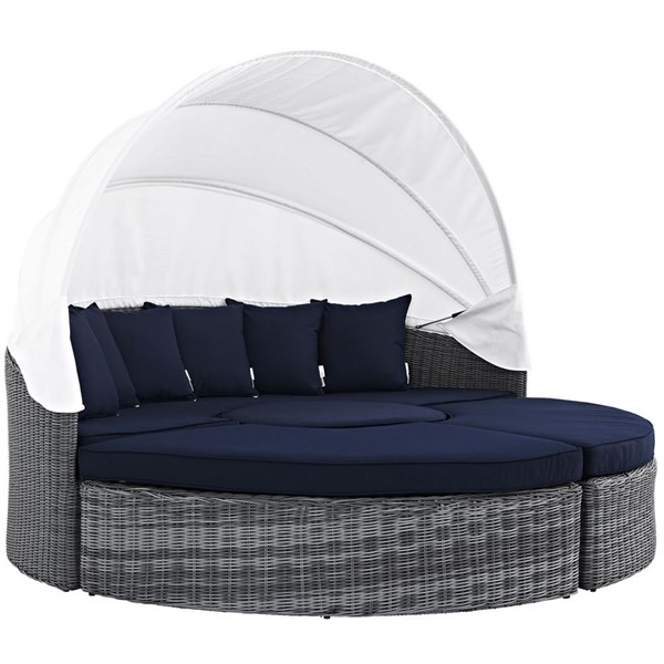 Modway Furniture Summon Navy Outdoor Sunbrella Canopy Daybed EEI-1997-GRY-NAV-SET