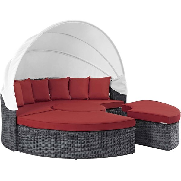 Modway Furniture Summon Red Outdoor Sunbrella Canopy Daybed EEI-1997-GRY-RED