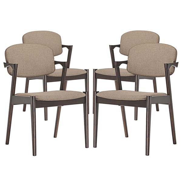 4 Spunk Modern Walnut Latte Wood Fabric Dining Armchairs EEI-1998-WAL-LAT-SET