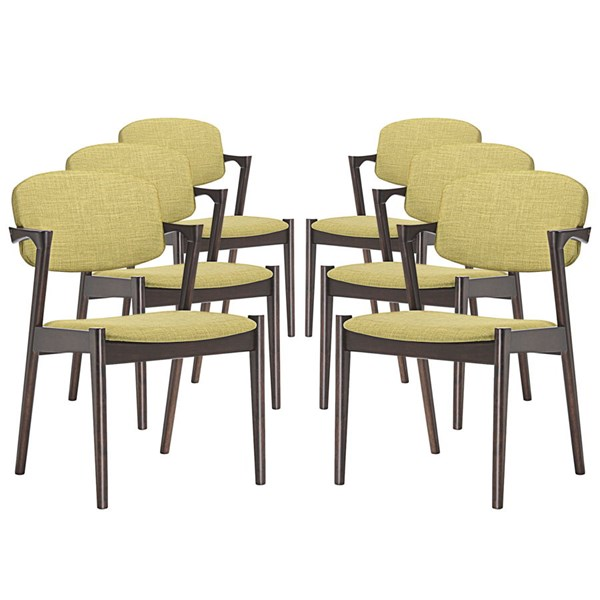 6 Spunk Modern Walnut Green Wood Fabric Dining Armchairs EEI-1999-WAL-GRN-SET