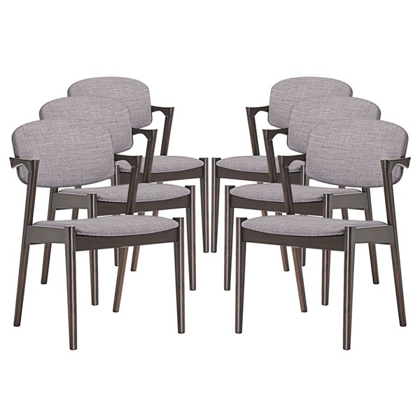 6 Spunk Modern Walnut Gray Wood Fabric Dining Armchairs EEI-1999-WAL-GRY-SET