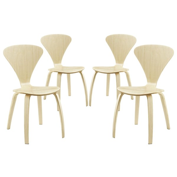 4 Vortex Natural Wood Solid Seat Dining Chairs EEI-2000-NAT-SET