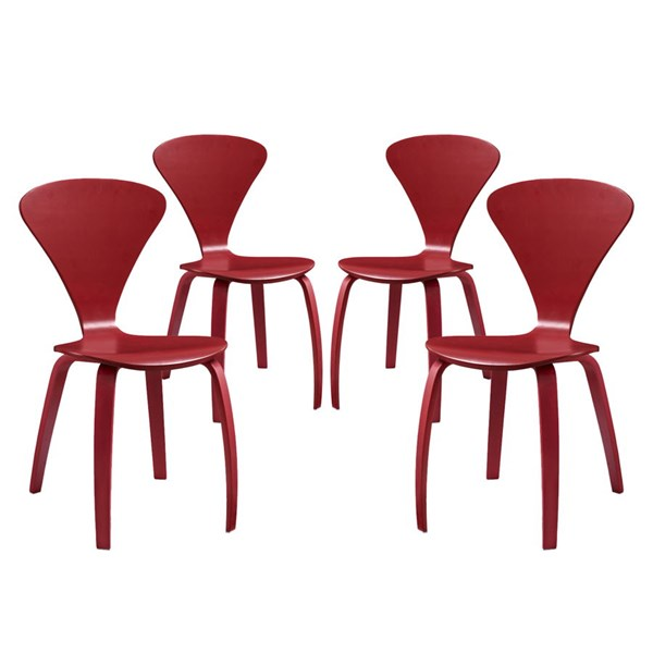 4 Vortex Red Wood Solid Seat Dining Chairs EEI-2000-RED-SET