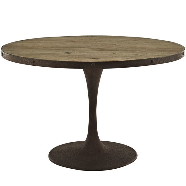Drive Modern Brown Metal 48 Inch Round Wood Top Dining Table EEI-2004-BRN-SET