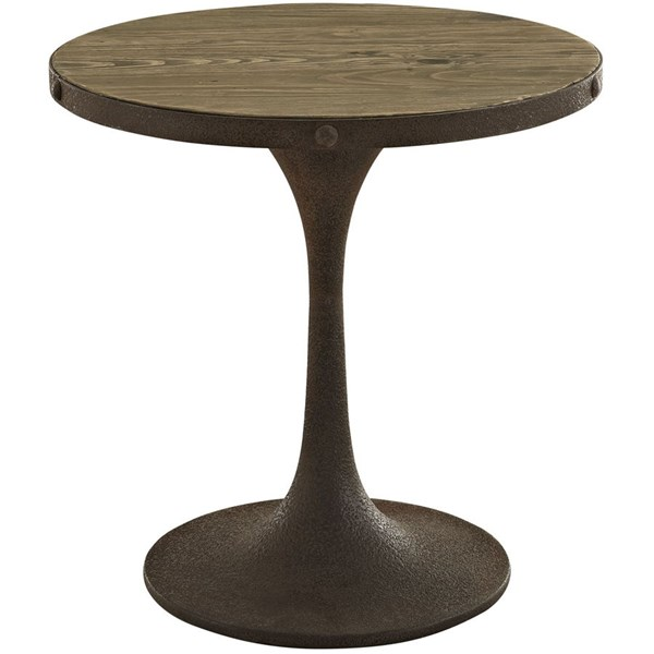 Drive Modern Brown Metal Wood Top Side Table EEI-2007-BRN