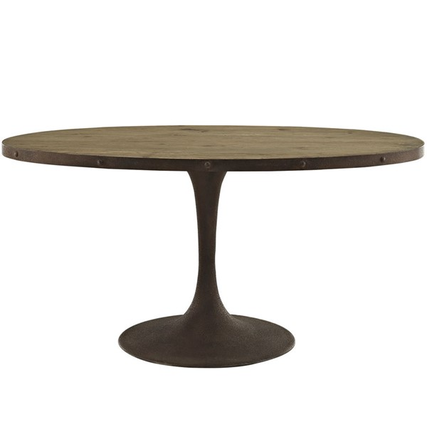 Drive Modern Brown Metal 60 Inch Oval Wood Top Dining Table EEI-2008-BRN-SET
