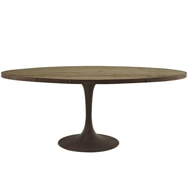 Modway Furniture Drive 78 Inch Oval Dining Table EEI-2010-BRN-SET