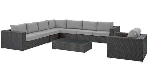 Modway Furniture Sojourn Gray 7pc Outdoor Sunbrella Sectional EEI-2013-CHC-GRY-SET