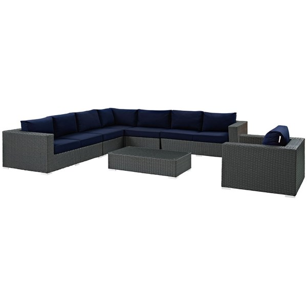 Sojourn Navy Fabric Synthetic Rattan 7pc Outdoor Patio Sectional Set EEI-2013-CHC-NAV-SET