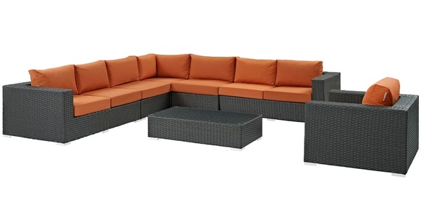 Modway Furniture Sojourn Tuscan 7pc Outdoor Sunbrella Sectional EEI-2013-CHC-TUS-SET