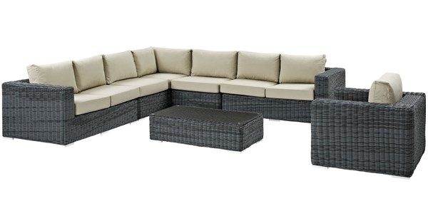 Modway Furniture Summon Beige Fabric 7pc Outdoor Sectional EEI-2014-GRY-BEI-SET