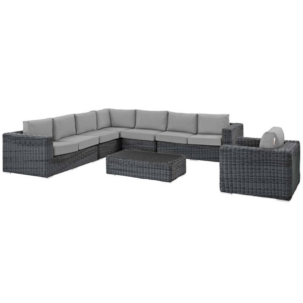Modway Furniture Summon Gray Fabric 7pc Outdoor Sectional EEI-2014-GRY-GRY-SET