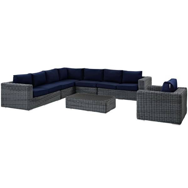 Summon Navy Fabric Synthetic Rattan 7pc Outdoor Sectional Set EEI-2014-GRY-NAV-SET