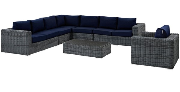 Modway Furniture Summon Navy Fabric 7pc Outdoor Sectional EEI-2014-GRY-NAV-SET