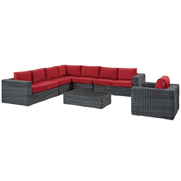 Modway Furniture Summon Red Fabric 7pc Outdoor Sectional EEI-2014-GRY-RED-SET