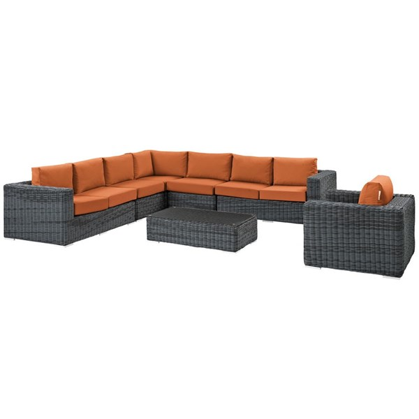 Modway Furniture Summon Gray Tuscan 7pc Outdoor Sunbrella Sectional EEI-2014-GRY-TUS-SET