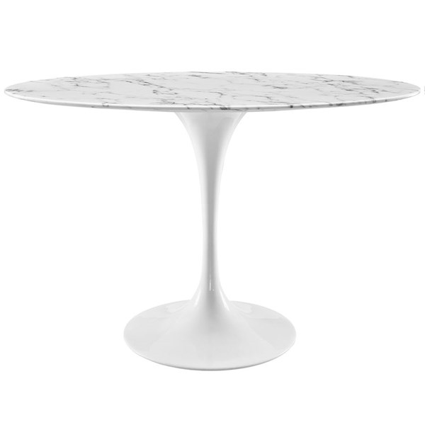 Lippa White Marble Metal 48 Inch Oval Dining Table EEI-2021-WHI