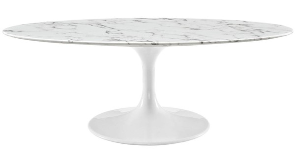 Modway Furniture Lippa 48 Inch Oval Artificial Marble Coffee Table EEI-2022-WHI