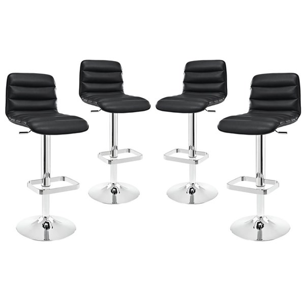 4 Ripple Modern Black PU Metal Upholstered Bar Stools EEI-2023-BLK-SET