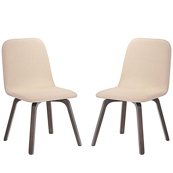 2 Assert Modern Walnut Beige Wood Fabric Dining Side Chairs EEI-2026-WAL-BEI-SET