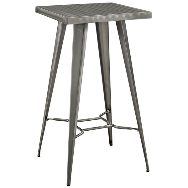 Direct Gunmetal PP Square Footrest Bar Table EEI-2037-GME