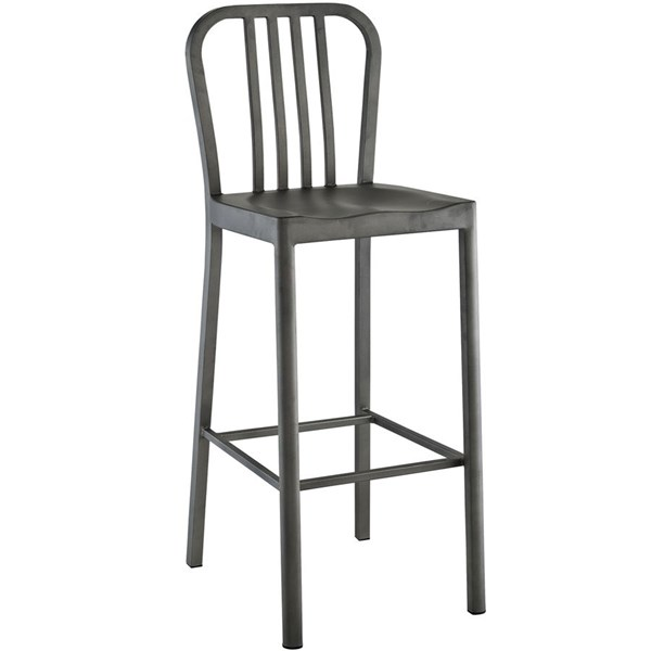 Clink Contemporary Silver Metal PP Bar Stool EEI-2041-SLV