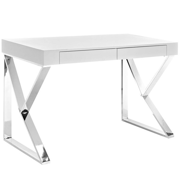 Adjacent Contemporary White MDF Stainless Steel Desk EEI-2047-WHI-SET