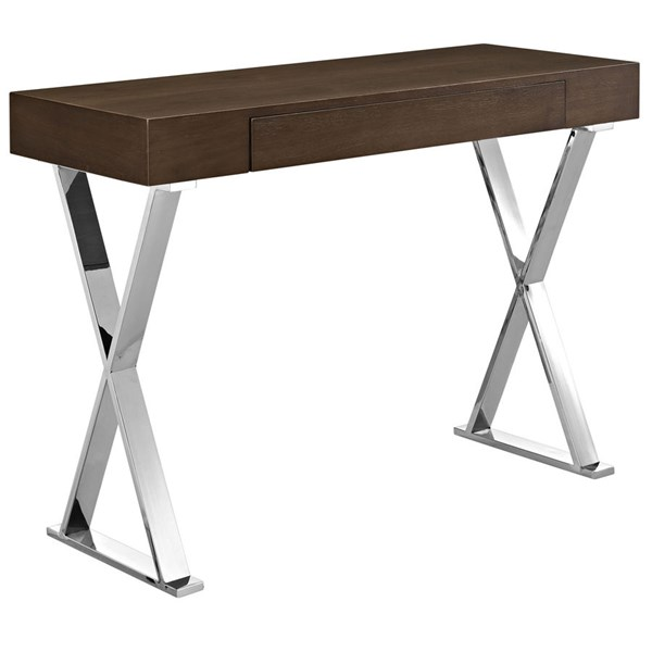 Sector Contemporary Brown MDF Stainless Steel Console Table EEI-2048-BRN-SET