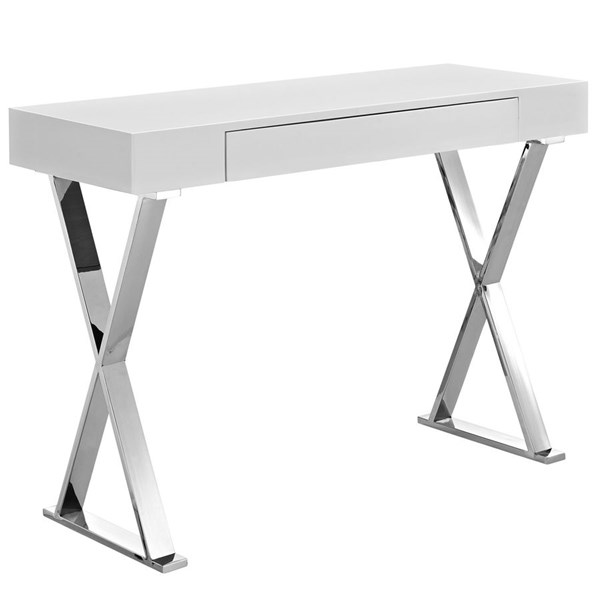 Sector Contemporary White MDF Stainless Steel Console Table EEI-2048-WHI-SET